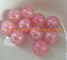 10(ten) 20mm light pink crackle bubblegum/chunky beads by CraftyCreationsByLB on Etsy