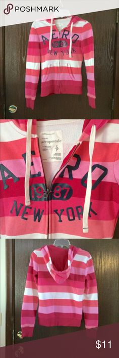 Pink striped hoodie Coral, bubblegum  pink , white and dark pink horizontally striped hoodie. Front zipper /long sleeves/ minor wear or stains on cuff of sleeves-  see photo.  Priced accordingly- 99% chance it will come out with Oxiclean Aeropostale Jackets & Coats