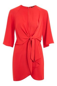 Knot Front Mini Shift Dress
