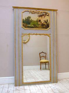 Pale blue antique trumeau mirror