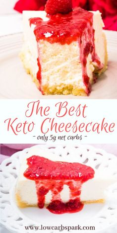 The Best Keto Cheesecake Recipe - Creamy & Dreamy This Keto Cheesecake is the creamiest, smoothest, easiest, silkiest, dessert recipe baked in the oven that\'s always a hit. I will give you all the tips & tricks to make a perfect sugar-free cheesecake every time. On top of that, it has only 5g net carbs for a slice, crust included! #ketocheesecake #cheesecake #ketodesserts. Recipe via @lowcarbspark