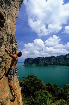 Railay Beach in Krabi, Thailand Places Around The World, Around The Worlds, Railay Beach, Beach Fun, Rock Climbing, Bouldering, Where To Go, Beautiful Landscapes, The Great Outdoors