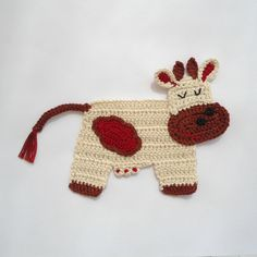 Crocheted Applique Cow di Clewinhand su Etsy, $5.00