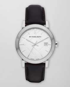 Burberry Sunray White Dial Check Watch With Leather Strap.  $395.