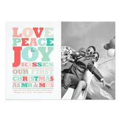 Love Peace Joy First Christmas Mr and Mrs Photo Card