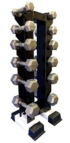 Ader Cast Iron Grey Hex Dumbell Set- 5,10,15,20,25,30lb Pairs w/ Rack