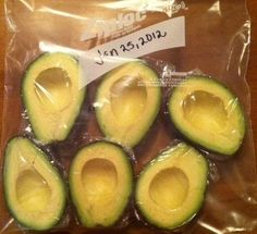 Freeze avocados once theyre ripe! Great for when they go on sale, or when you need an avocado and theyre all too firm at the store. They keep for MONTHS this way! Who knew?  Not that I ever need to do this :)