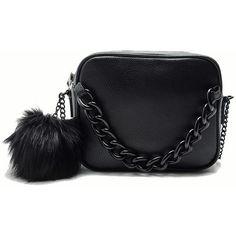 Black Zipper Fur PU Chain Bag (86 BRL) ❤ liked on Polyvore featuring bags, handbags, shoulder bags, clutches, сумки, black, bolsos, satchel bag, pu handbag and handbag satchel