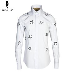 Find More Casual Shirts Information about Troilus Fashion Men's Embroidery Stars Dress Casual Black No Iron Shirts Slim Fit Long Sleeve Brand 2016 New Party Chemise Homme,High Quality shirt hollister,China shirt women Suppliers, Cheap shirt from Troilus Flagship Store on Aliexpress.com
