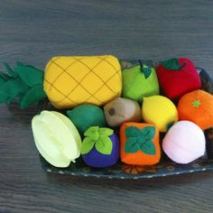 Felt patterns - favorite fruits patterns lot - 15 felt fruits patterns and tutorials via email