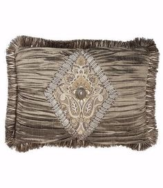 25% OFF July 8-12, 2016 Christmas in July! Grey Silk And Tapestry Rectangle Accent Pillow 17x13