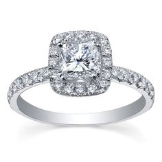 Beaverbrooks MAPLE LEAF DIAMONDS 18CT WHITE GOLD DIAMOND HALO ENGAGEMENT RING