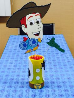 Toy Story Woody Centerpiece Base, Toy Story Centerpiece, Woody, Buzz Lightyear, Birthday, Party Decor, Toy Story Birthday by Chickedoll on Etsy https://www.etsy.com/listing/256317642/toy-story-woody-centerpiece-base-toy