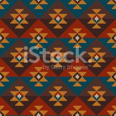 Tribal Aztec Seamless Pattern on the wool knitted texture royalty-free stock vector art