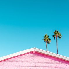 Do you ever get that feeling of being watched while trying to take a photo? Pink roofline with palm trees. Coral Sands Inn in Palm Springs, California.