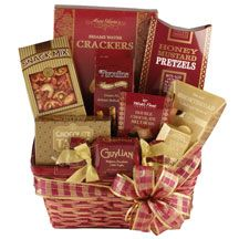 Leave a lasting impression with this all-inclusive gift basket, featuring gourmet chocolates, brie cheese spread and other delicious confections. Food Gift Baskets, Christmas Gift Baskets, Gourmet Baskets, Brie, Healthy Party Snacks, Delicious Snacks, Savory Snacks, Chocolate Covered Graham Crackers, Chocolate Crackle Cookies
