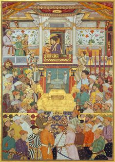 Shah Jahan receives his three eldest sons and Asaf Khan during his accession ceremonies on 8 March 1628. Painted by Bichitr, c. 1630-5.: