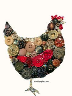 8x10 Rustic Kitchen Decor Button Art Swarovski by BellePapiers