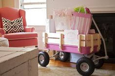 """""""Welcome wagon"""" great place to put gifts--then roll away, and use for kiddoes when older!"""