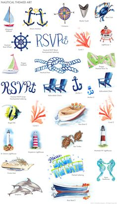 Hand-painted nautical themed invitation art by Michelle Mospens / MospensStudio.com