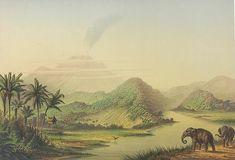 De berg Opir op de westkust van Sumatra met olifanten op de voorgrond. 1865-1876. Sumatera, Indonesië