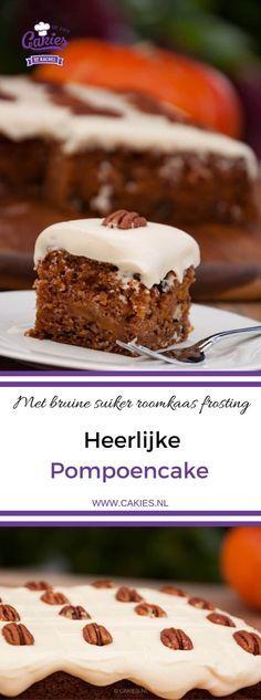 Pompoencake is gemaakt met geraspte pompoen, appel, pecannoten met een bruine suiker en roomkaas frosting. Een pompoen versie van worteltaart. #pompoen #pompoencake #recept #recepten