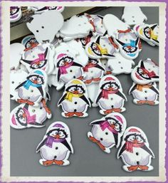 Lot de 5 boutons bois pingouin : Boutons par broderiesab