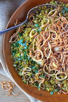 Mejadra, a Middle Eastern comfort food made with rice, lentils and fried onions
