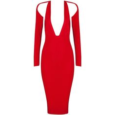 Honey Couture Red Deep V Bandage Dress ($149) ❤ liked on Polyvore featuring dresses, red couture dresses, red day dress, red dress, red bandage dress and couture dresses