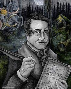 🎃 The Legend of Sleepy Hollow by Washington Irving portrait🎃 Sleepy Hollow Book, Legend Of Sleepy Hollow, Watercolor Artwork, Watercolor Print, Headless Horseman, Book Club Books, Fairy Tales, Washington, Magic