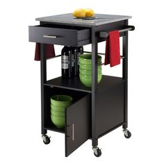 Expand your kitchen storage possibilities with Davenport Kitchen Cart with Granite. Top Cart assembled size is x D x Granite Top Buy Davenport Kitchen Cart with Granite Top Black Online Dining Table With Storage, Kitchen Table Chairs, Dining Room Furniture, Kitchen Storage, Kitchen Dining, Kitchen Tips, Kitchen Carts, Wood Storage, Dining Tables