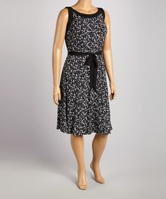 Another great find on #zulily! Black & White Frames Sleeveless Dress - Plus by Glamour #zulilyfinds