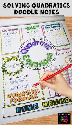 Doodle Notes - Fun Way to Practice Solving Quadratic Equations