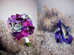 Orchids + succulents = beautiful purple bouquet wedding