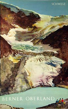 Vintage Travel Poster - Berner Oberland - Switzerland - by Erni Hans - Rockwell Kent, Norman Rockwell, Vintage Ski Posters, Retro Poster, Evian Les Bains, Fürstentum Liechtenstein, Grindelwald, Illustrator, Plakat Design