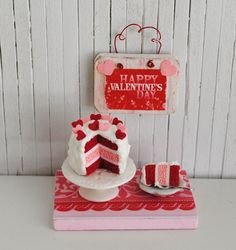 Miniature Valentine Cake With Pink And Red by LittleThingsByAnna, $22.99