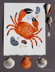 "Watercolor nautical illustration. 8""x10"". Beach house decor idea."