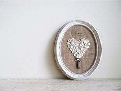 A Key to My Heart - Framed Button Heart With Vintage Mother of Pearl Buttons and Skeleton Key on Etsy, $37.00