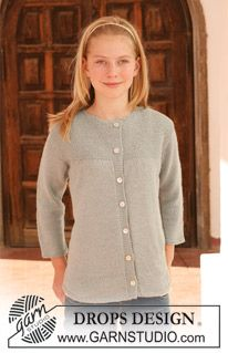"""DROPS jacket with 3/4 sleeves in """"Alpaca"""". Size 7 – 14 years. ~ DROPS Design"""
