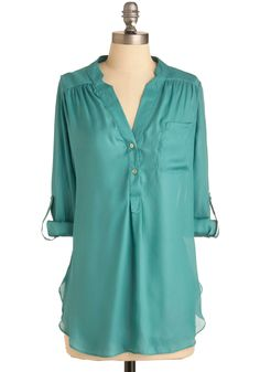 Pam Breeze-ly Tunic in Aqua - Solid, Buttons, Pockets, 3/4 Sleeve, Work, Green, Long