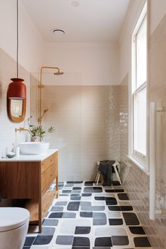 Landscape Gardeners Are Like Outside Decorators! Tour An Australian Home That Masters A Minimalist Red Kitchen Architectural Digest Funky Bathroom, Modern Bathroom, Small Bathroom, Bathroom Ideas, Bathroom Wall, Master Bathroom, Rental Bathroom, Bathroom Black, Vanity Bathroom