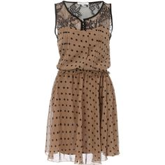 Polka a dot lace dress (€44) ❤ liked on Polyvore featuring dresses, vestidos, robe, short dresses, brown lace dress, brown polka dot dress, lace dress and brown waist belt