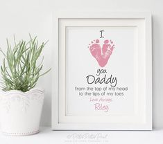 First Father's Day Gift for New Dad, I Love You Daddy Baby Footprint Heart, Personalized or Art Print, Your Child's Feet UNFRAMED - Turnaround time for proofs is currently business days for use custom on file and use stock orde - Diy Father's Day Gifts From Baby, Gifts For New Dads, Mothers Day Crafts For Kids, Fathers Day Crafts, Dad Gifts, Diy Father's Day Crafts, Father's Day Diy, Baby Crafts, Nursery Crafts