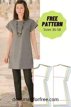 Tunic Dress Patterns, Shirt Dress Pattern, Patterns For Dresses, Dress Pattern Free, Shirt Patterns For Women, Japanese Sewing Patterns, Sewing Patterns Free, Free Sewing, Clothing Patterns