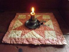 Primitive Antique Cutter Quilt Candle Mat $4
