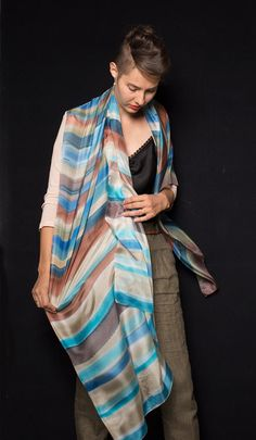 Rustic Stripes Hand Painted Silk Scarf/ Handpainted scarf