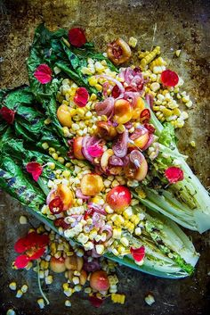 Grilled Romaine and Corn Salad with Pickled Cherries #bitesizedeats