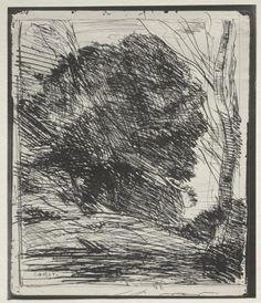 'arbres sur l' montagne', dessin de Jean Baptiste Camille Corot (1796-1875…