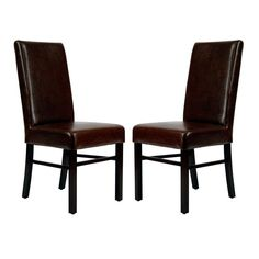 Safavieh Classic Dining Side Chairs - Brown Leather - Set of 2 - HUD8205A-SET2