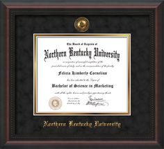 Northern Kentucky University - Diploma Frames : With Seal - Black Suede on Gold. Click image to see more styles!